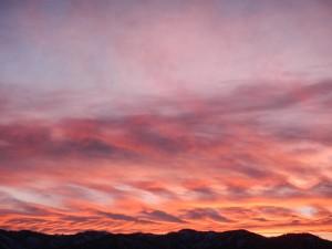 montana winter sunset on the homestead