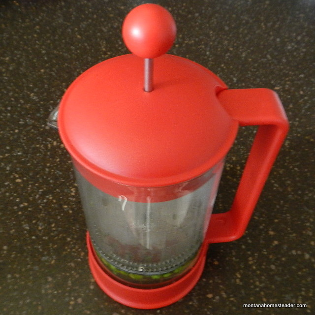 Using a french press to make loose leaf herbal tea
