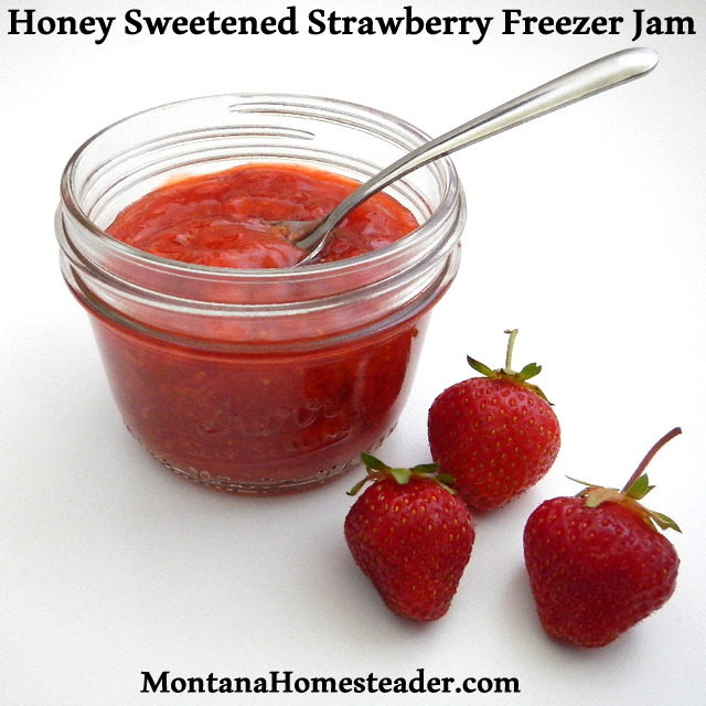 How to make Honey Sweetened No Cook Strawberry Freezer Jam