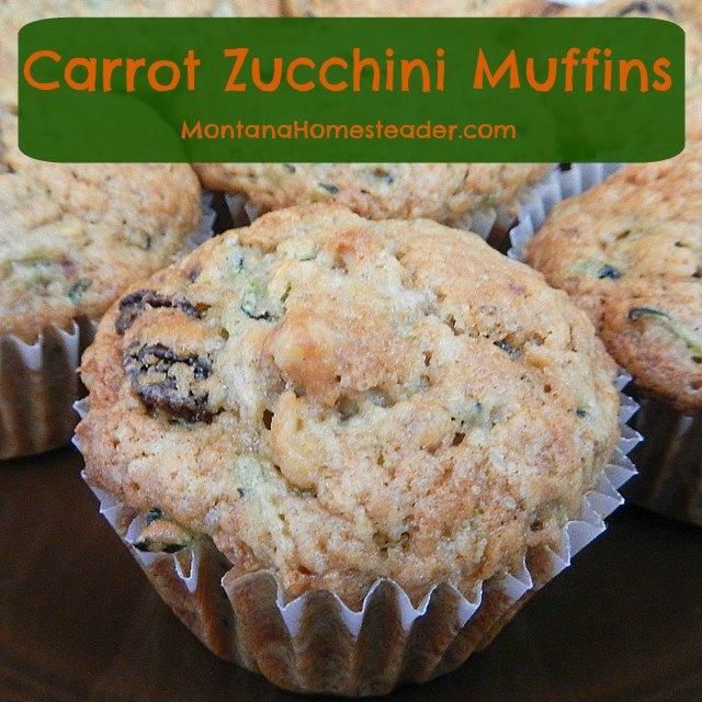 healthy breakfast muffin recipe for carrot zucchini muffins | Montana Homesteader