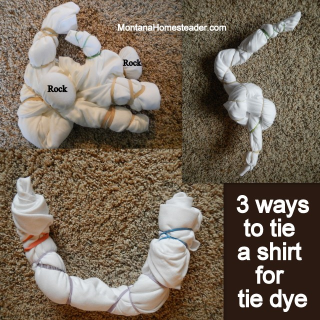 three ways how to tie up a tshirt to tie dye a shirt with homemade natural dye | Montana Homesteader
