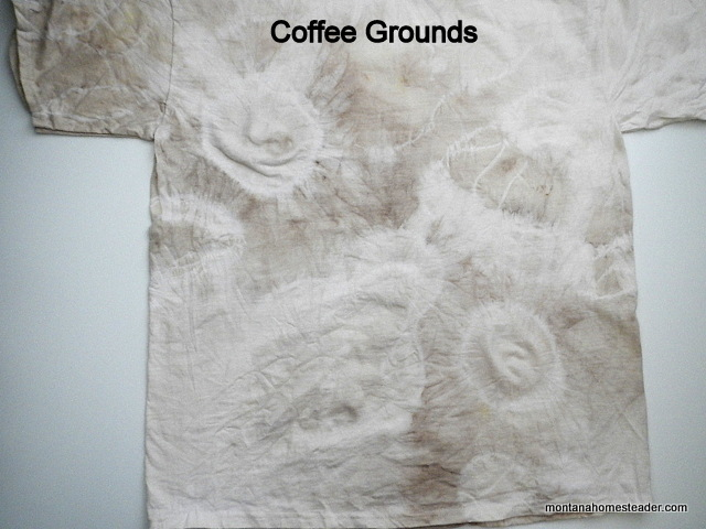 using coffee grounds to make a homemade organic natural dye to tie dye a t shirt | Montana Homesteader