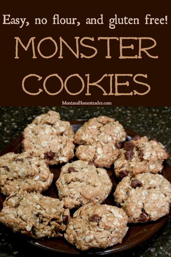 plate of homemade monster cookies