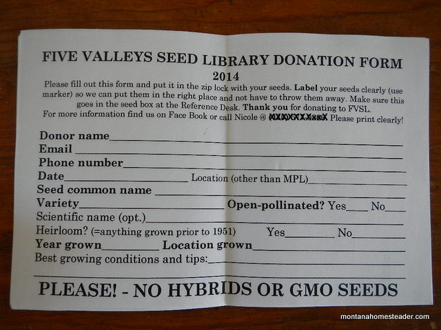 Five Valleys Seed Library heirloom seed donation information sheet | Montana Homesteader