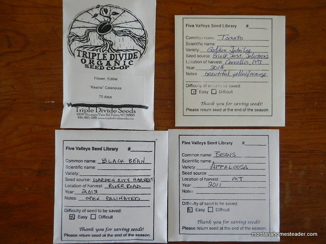 Heirloom seed packets for seed exchange at the Five Valleys Seed Library | Montana Homesteader