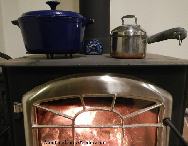 Baking and Cooking a chicken dinner on a wood stove | Montana Homesteader