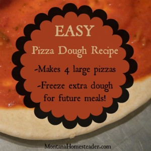 Easy pizza dough recipe makes 4 large pizzas or you can freeze the extra dough for future meals   Montana Homesteader