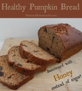 Healthy pumpkin bread recipe sweetened with honey instead of sugar | Montana Homesteader