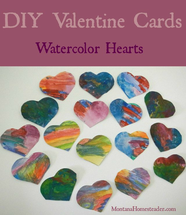 DIY Valentine cards an easy project to make beautiful watercolor hearts | Montana Homesteader