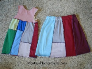 How to make a skirt and dress from an old t shirt | Montana Homesteader