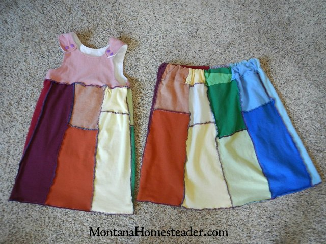 How to make an upcycled t shirt skirt and t shirt dress | Montana Homesteader
