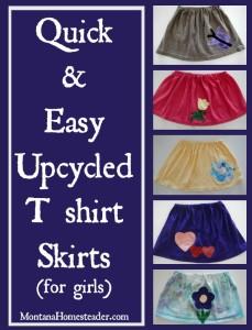 How to make an upcycled tshirt skirt tskirt for girls | Montana Homesteader