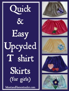 How to make an upcycled tshirt skirt tskirt for girls | Montana Homesteader