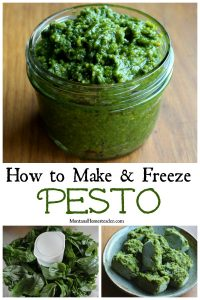 How to make pesto showing a glass jar full of homemade pesto with a picture of basil in a food processor and frozen cubes of pesto