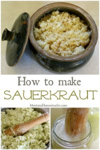 How to make fermented sauerkraut with a picture of shredded cabbage being pounded to make sauerkraut and the final fermented sauerkraut in a handmade crock