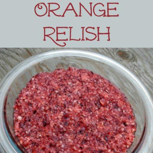 Honey sweetened raw cranberry orange relish