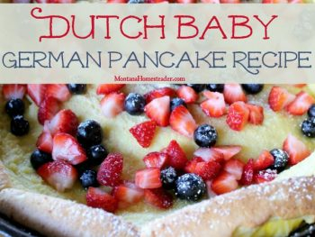 Dutch Baby German Pancake recipe with fresh fruit and powdered sugar topping