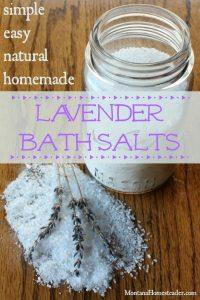 jar of natural homemade lavender bath salts Montana Homesteader
