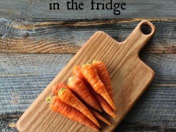 Fresh carrots stored properly in the refrigerator to stay crunchy